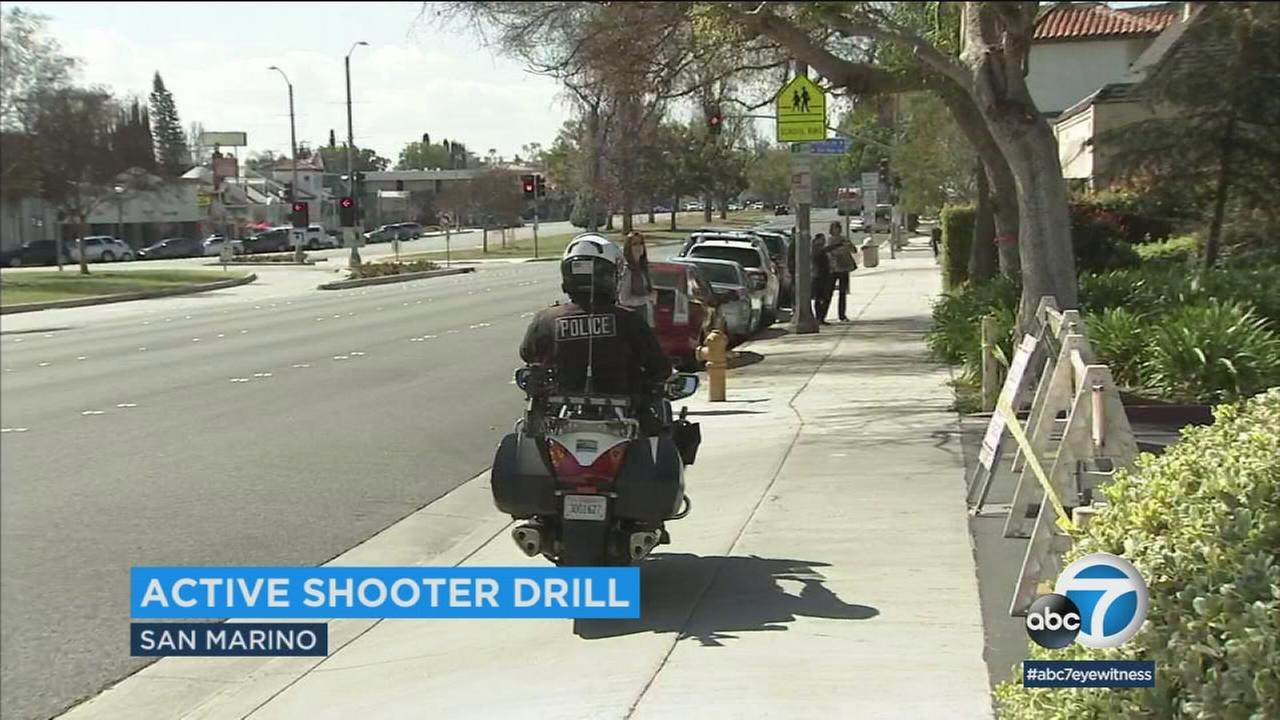 The San Marino School District held a drill simulating a lone gunman on campus, hoping theyll never have to respond in real life.