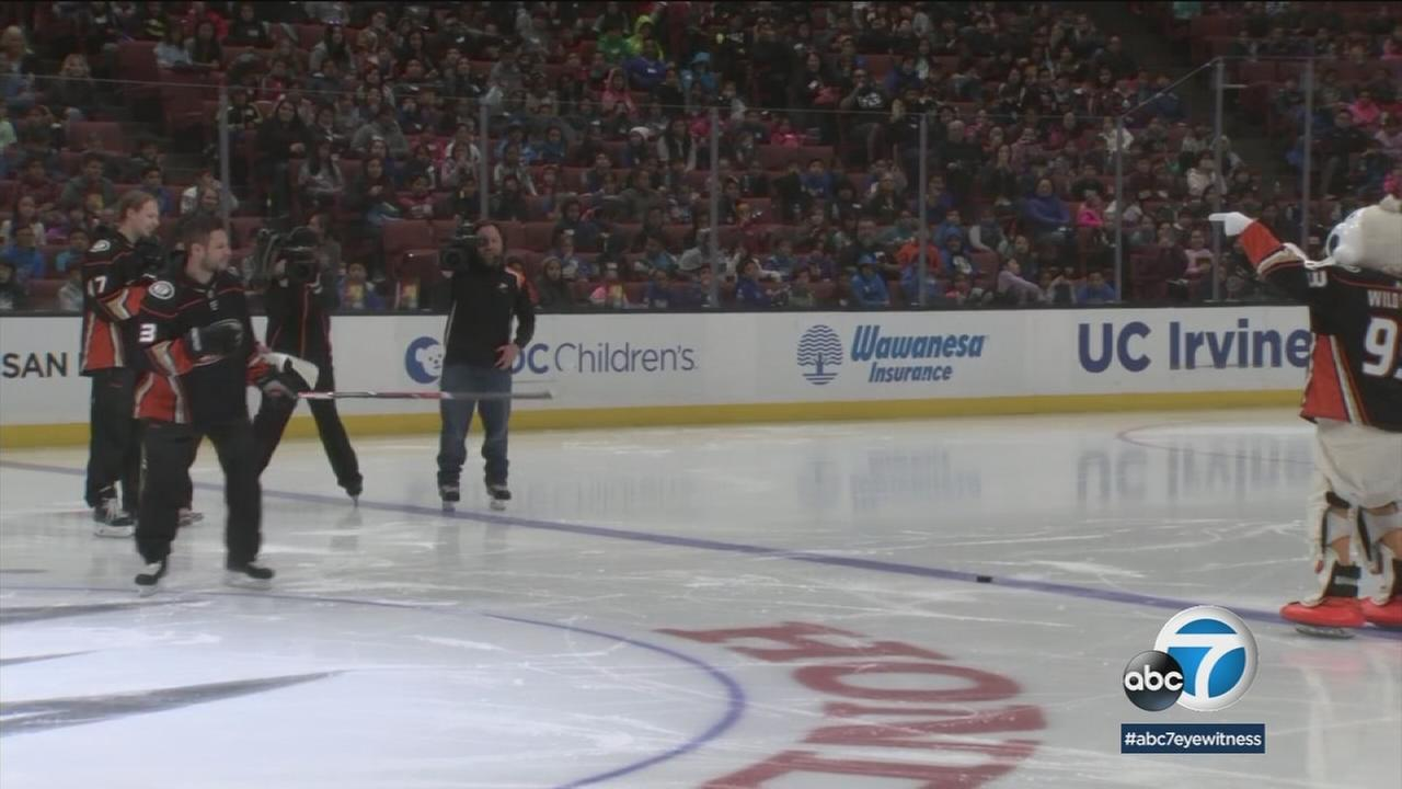 Elementary school students descended on the Honda Center to learn the science of hockey from the Anaheim Ducks.