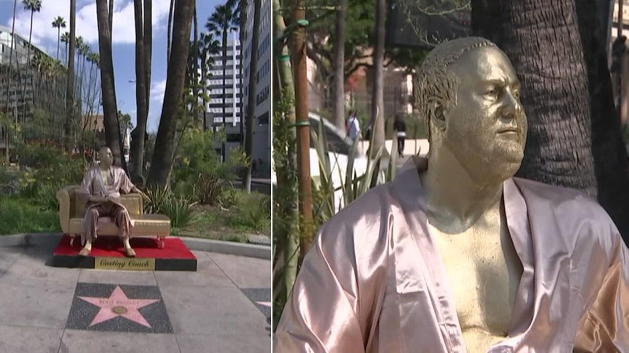 A life-like statue of Harvey Weinstein on a casting couch is shown along the Hollywood Walk of Fame in Hollywood.
