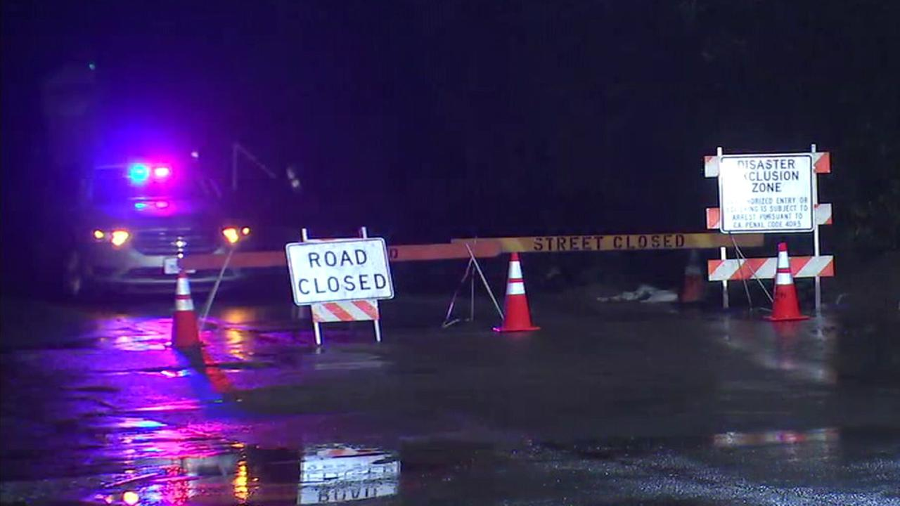 A road was closed in Montecito on Friday, Feb. 2, 2018, amid fears of flash flooding and mudflows.