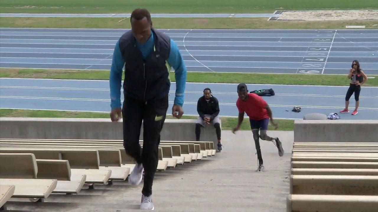 Willie Gault is shown training with Paralympian Blake Leeper in Westwood.