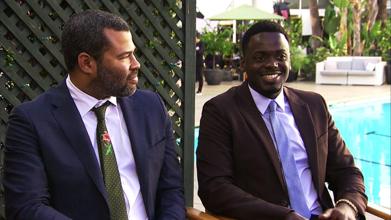 Jordan Peele and Daniel Kaluuya of the movie Get Out are shown during an interview about the movies Oscar nominations.