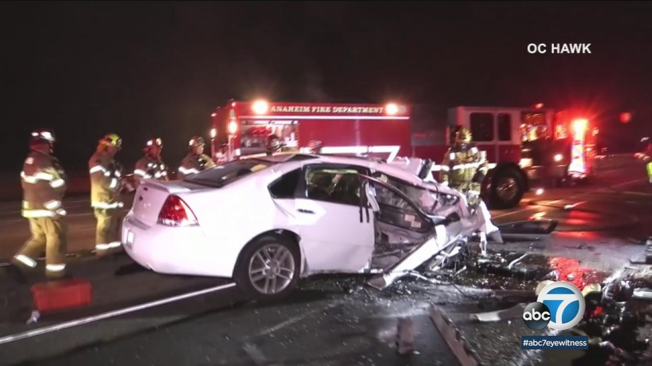 California Highway Patrol said a man died at the scene after his car slammed into the back of a big rig and burst into flames, Friday, March 2, 2018.