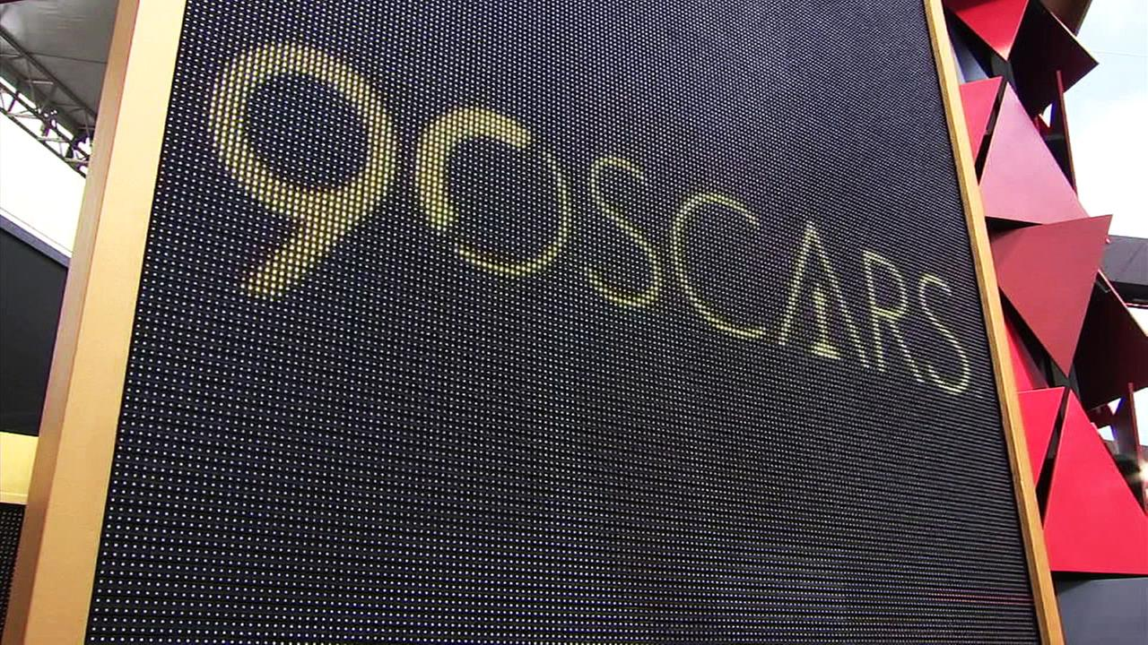 One of many glamorous signs at the Dolby Theatre on Saturday, March 3, 2018, as Oscar preparations continue ahead of the big night.