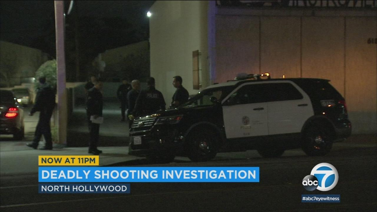 The scene of a deadly shooting in North Hollywood on Saturday, March 3, 2018.