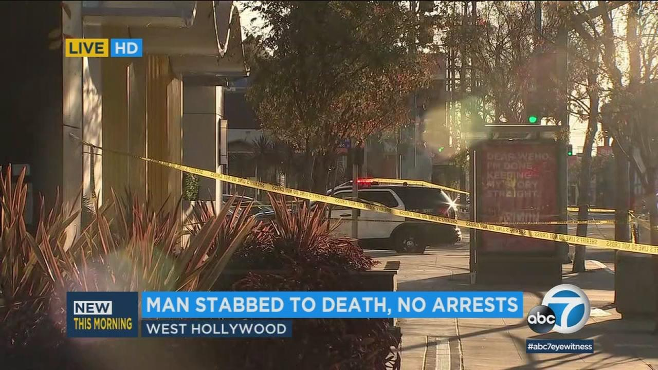 Crime tape ropes off the scene of a fatal stabbing in West Hollywood on Sunday, March 4, 2018.