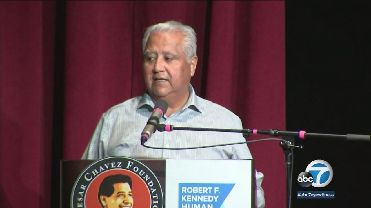 Family members of Cesar Chavez and Robert F. Kennedy spoke at an LA school to remember the 50th anniversary of Chavezs 25-day fast.