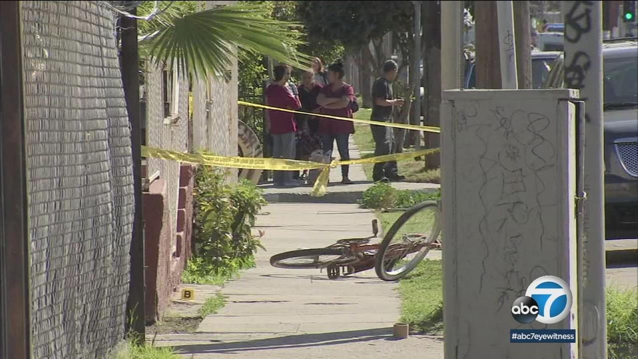 Authorities cordoned off an area where a man was fatally shot in a South Los Angeles neighborhood on Monday, March 5, 2018.