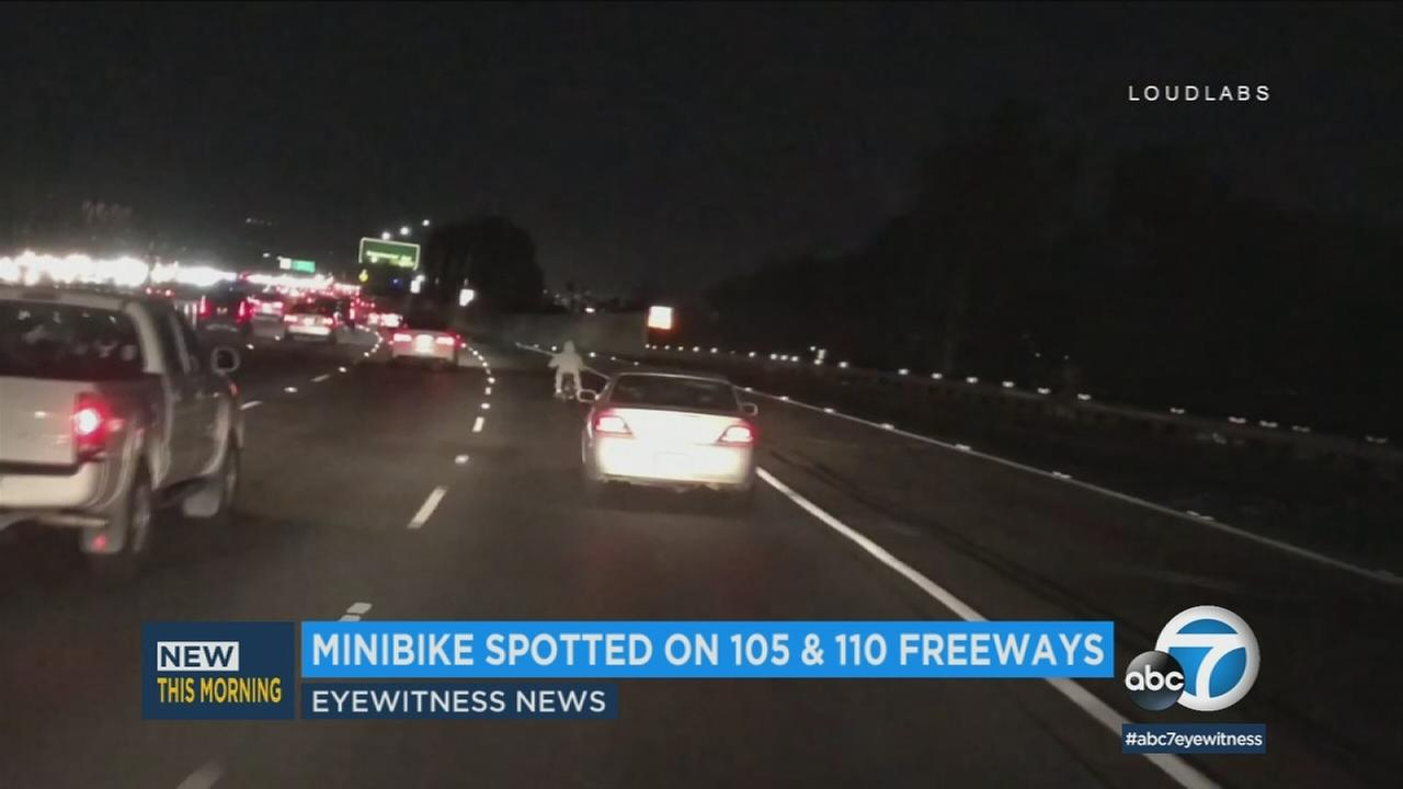 Video captures a man who appears to have ridden his minibike on the 110 freeway with no helmet.