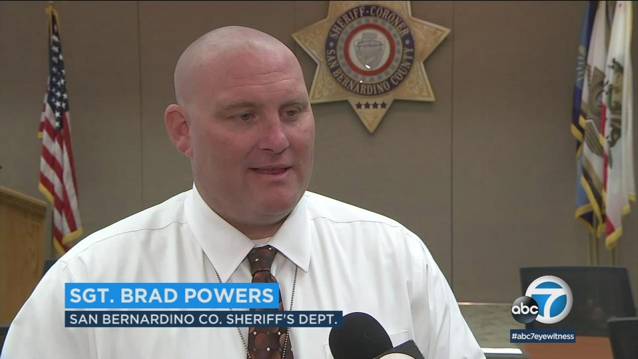 San Bernardino County sheriffs Sgt. Brad Powers is shown during an interview as he went back to work after five months of recovering from the Las Vegas shooting.