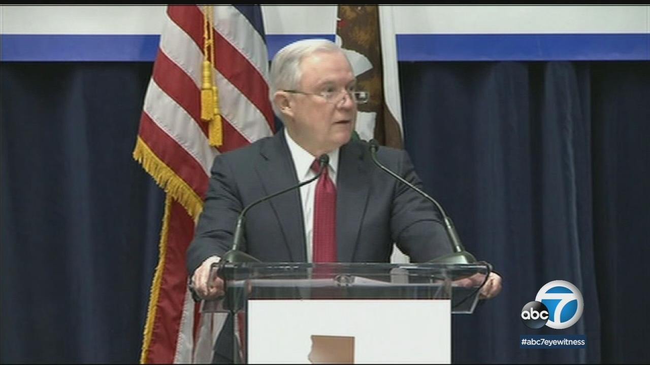 U.S. Attorney General Jeff Sessions speaks at an event in Sacramento on Wednesday, March 7, 2018.