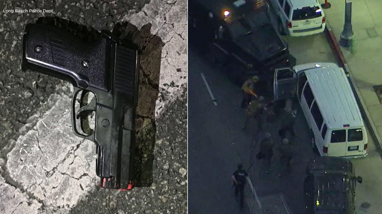 The handgun (left) found after a standoff with an armed man near Long Beach City Hall (right) on Wednesday, March 7, 2018.