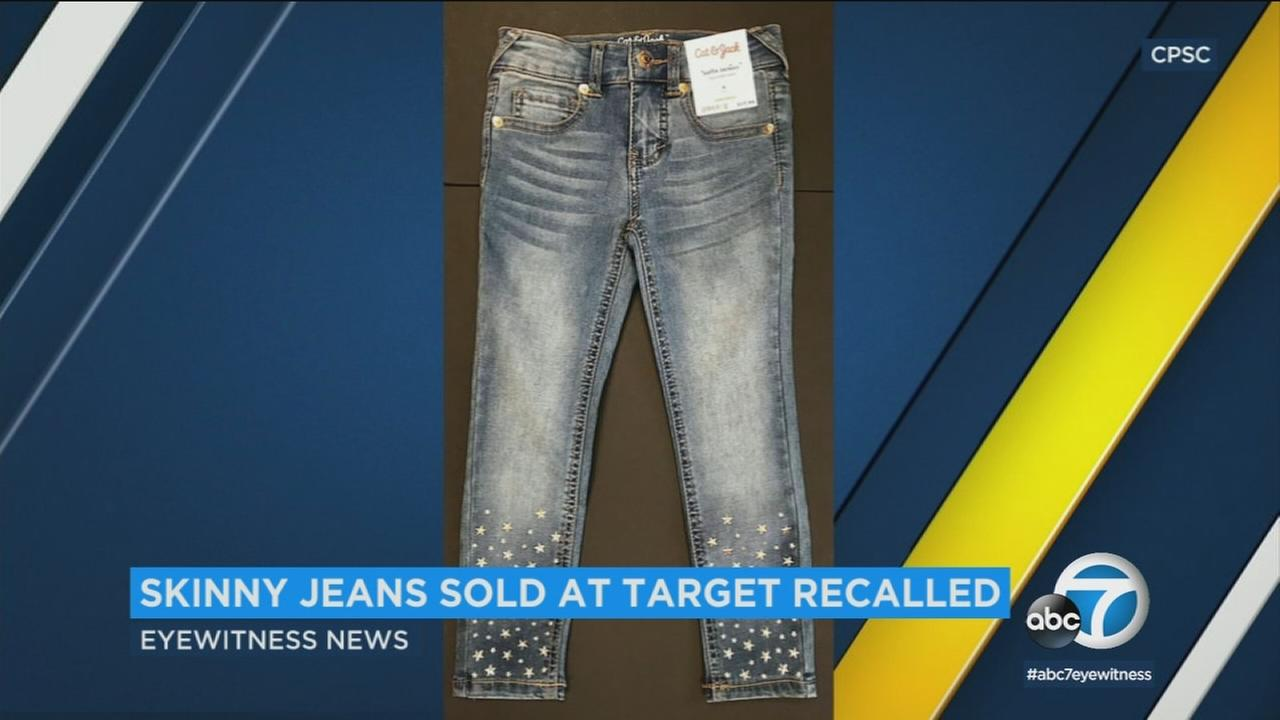 Target is recalling a brand of childrens jeans because of decorations that can come loose and cut the wearer.