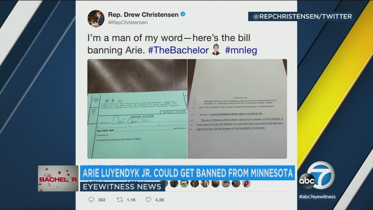 A Minnesota state lawmaker has authored a bill banning Bachelor Arie Luyendyk Jr. from the state after he first proposed to, then dumped, a Minneapolis woman.