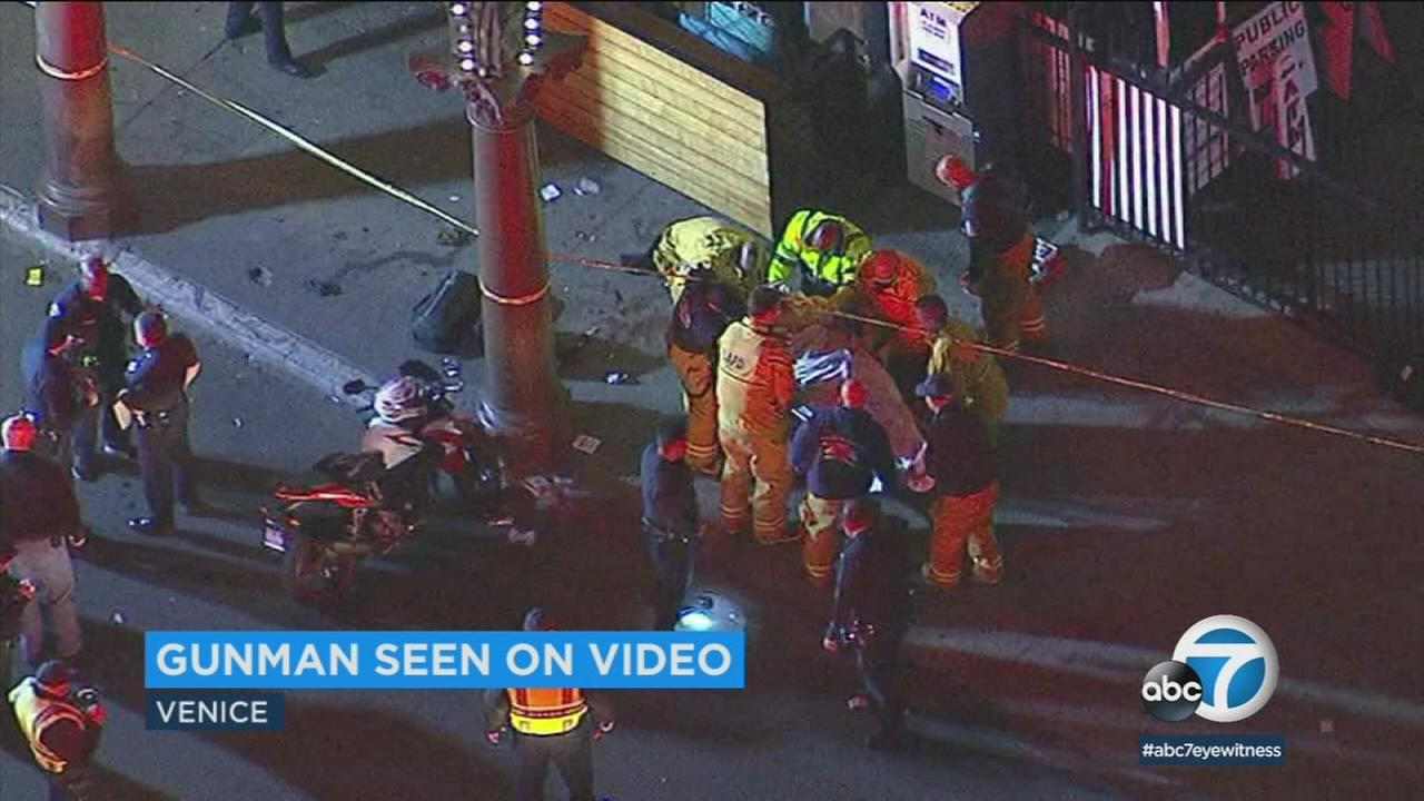 A gunman was being sought after he critically wounded a man in a Venice shooting captured in a bystanders harrowing video.