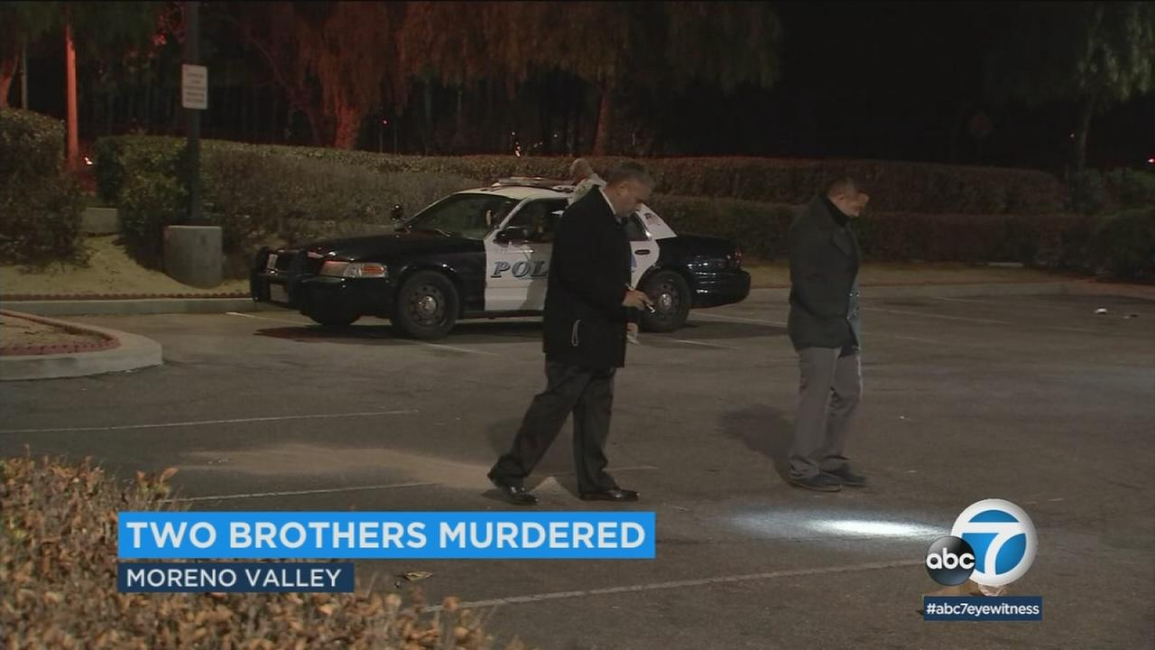 A double homicide investigation was underway after two brothers were found shot to death Wednesday evening in Moreno Valley, authorities confirmed.