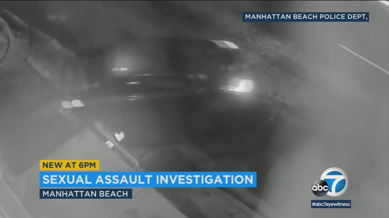 Surveillance video shows the car of a Manhattan Beach sexual assault suspect on Friday, March 2, 2018.