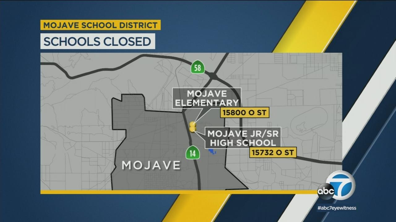 Two schools were also closed in the Mojave Unified School District Friday due to a possible threat there Friday, March 9, 2018.