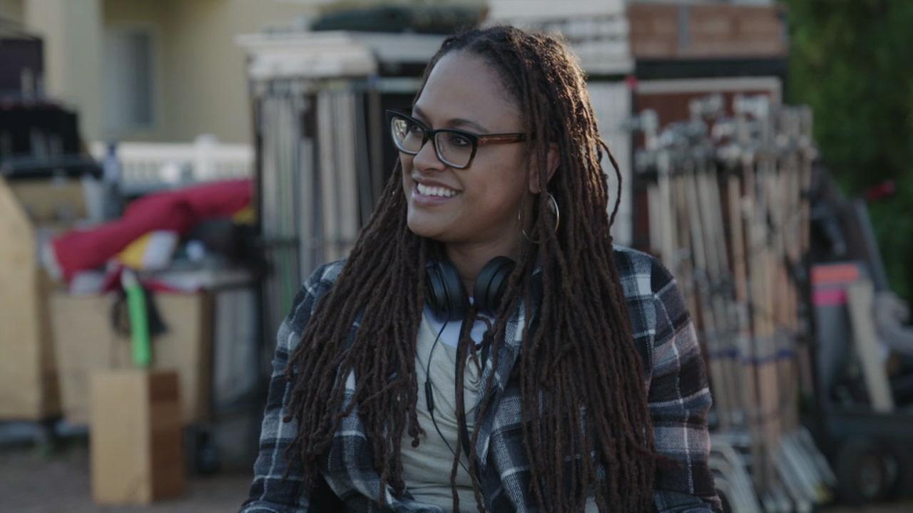 A Wrinkle in Time director Ava DuVernay is shown during the filming of a scene in San Pedro.