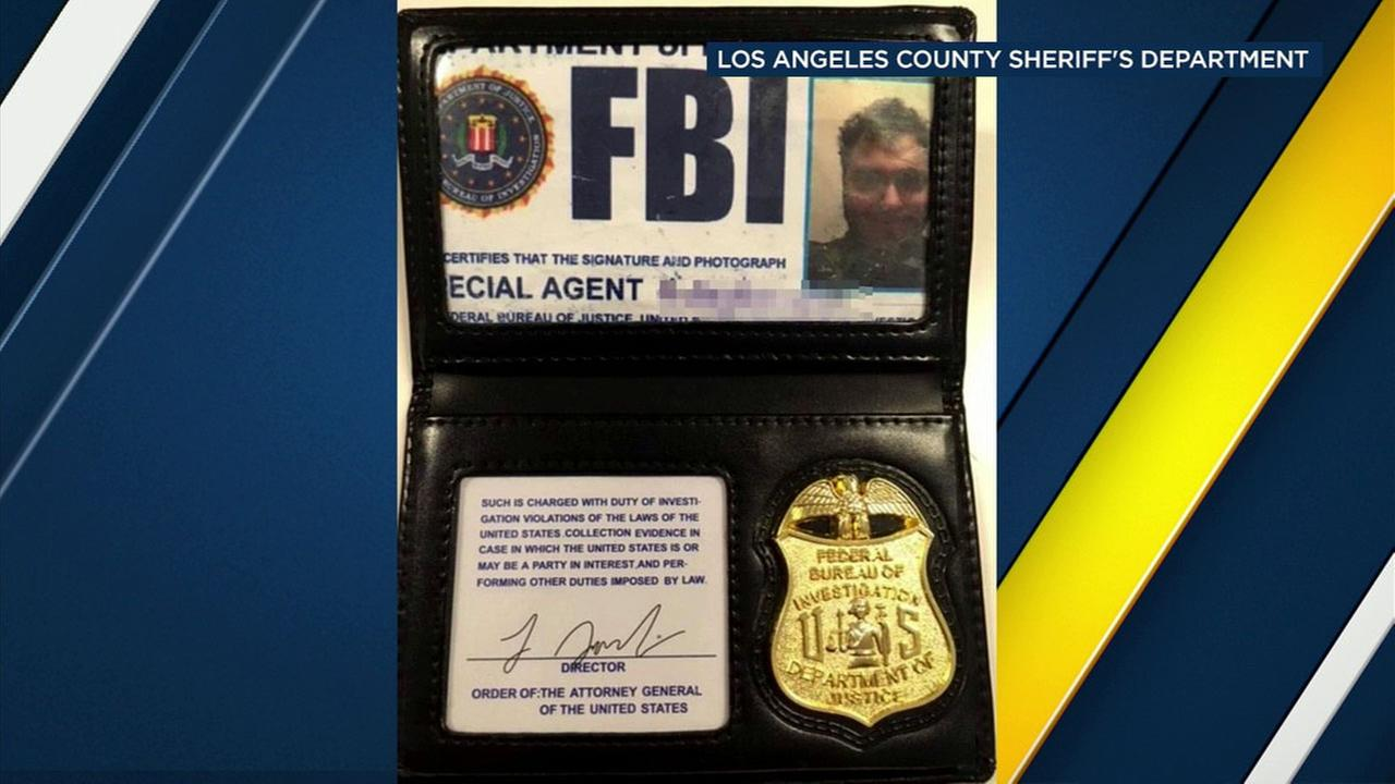 A photo shows a fake FBI badge found on a man allegedly attempting to get into the Mens Central Jail in Los Angeles on Tuesday, March 6, 2018.