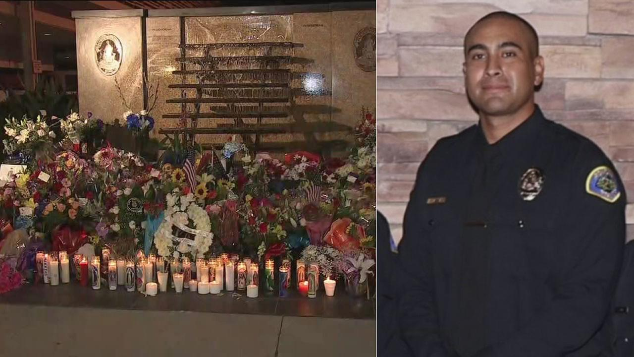 A memorial of candles and flowers is growing for slain Pomona officer Gregg Casillas.