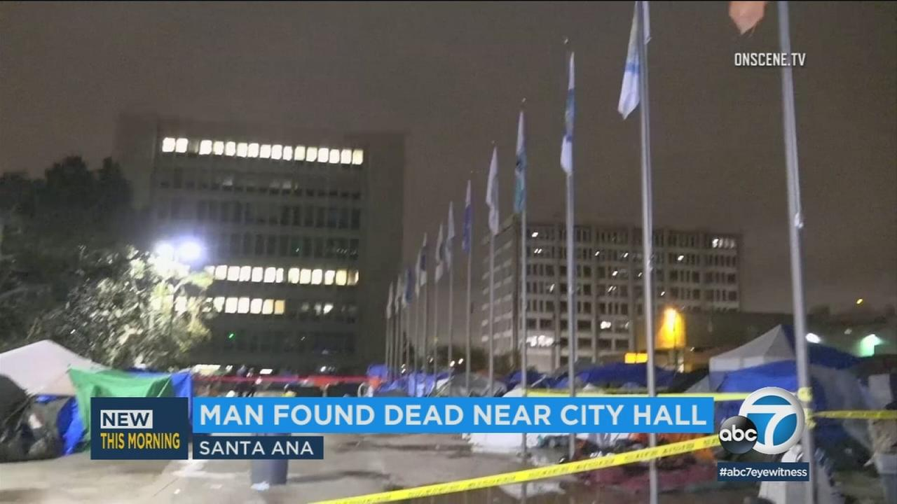 Santa Ana City Hall, where a man was found dead on Sunday, March 11, 2018.