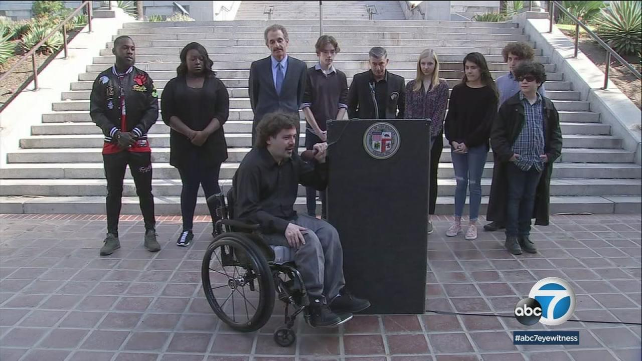 Local students from March for Our Lives Los Angeles spoke out Monday about a student-led effort to stop gun violence.