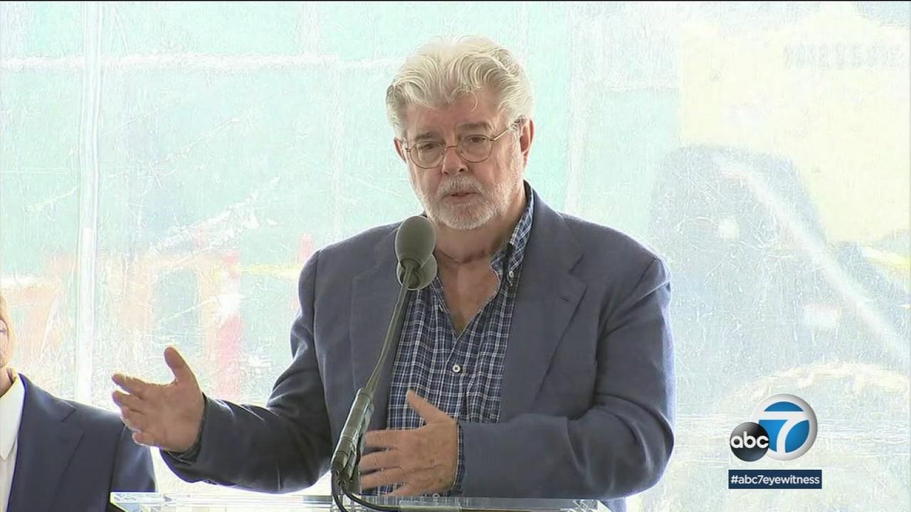 George Lucas was joined by local officials for the ceremonial groundbreaking at the future site of the $1.5-billion Lucas Museum of Narrative Arts in Exposition Park.
