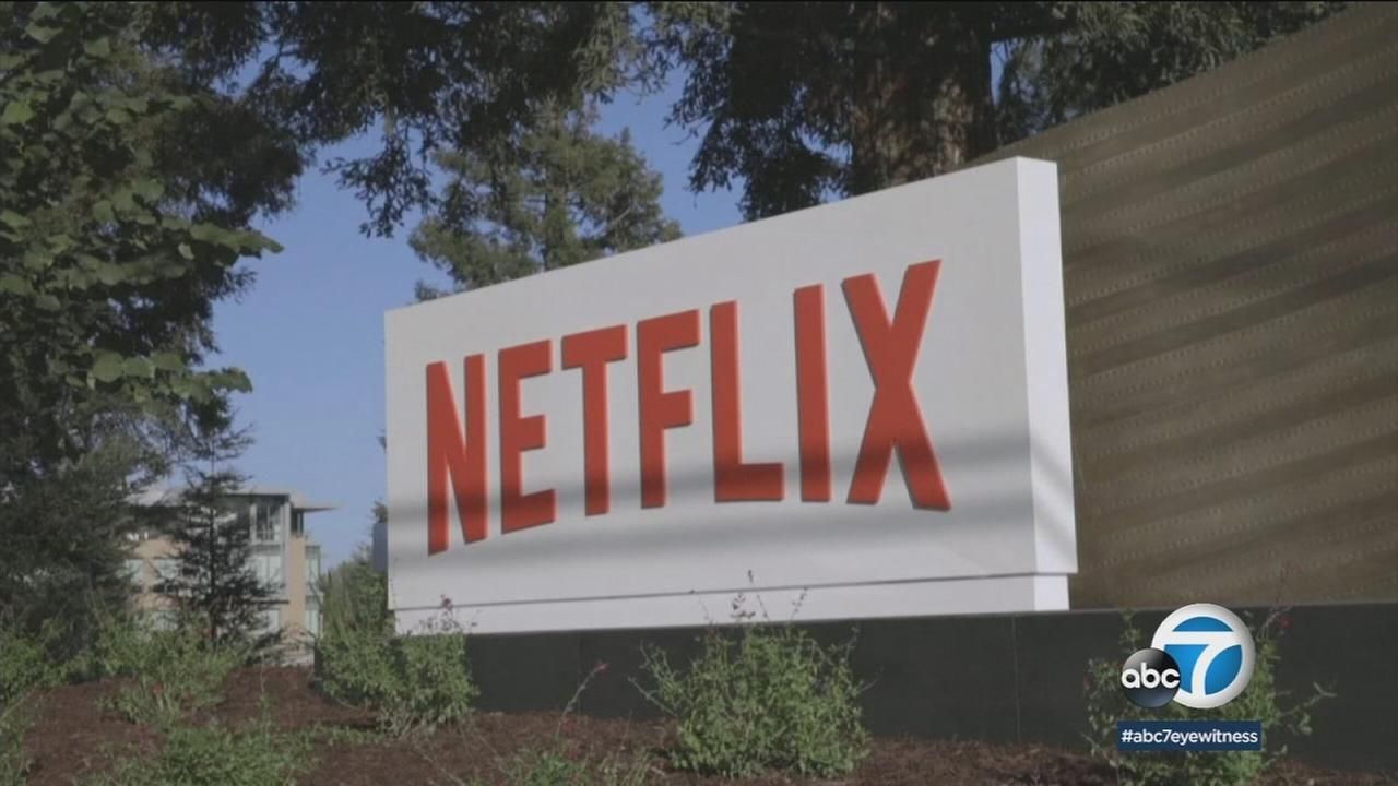 The sign for television streaming service Netflix is displayed in this undated file image.