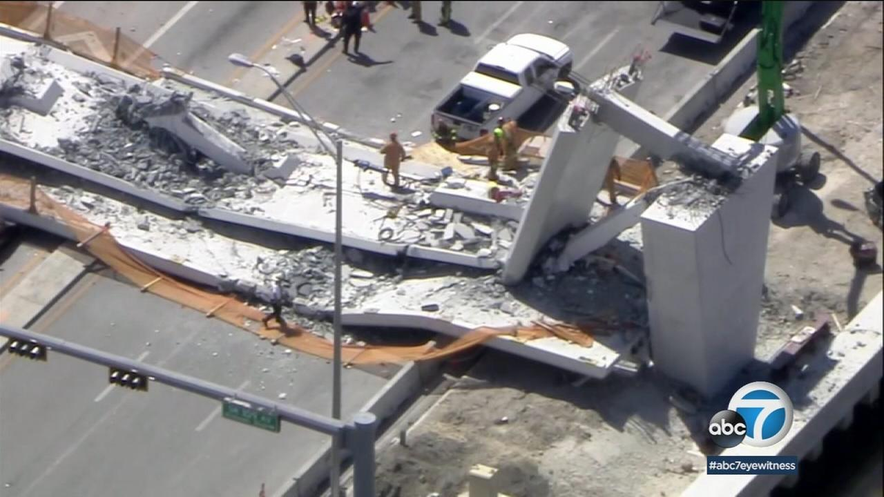 Florida transportation officials said an engineer reported cracking on one end of a bridge two days before it collapsed.
