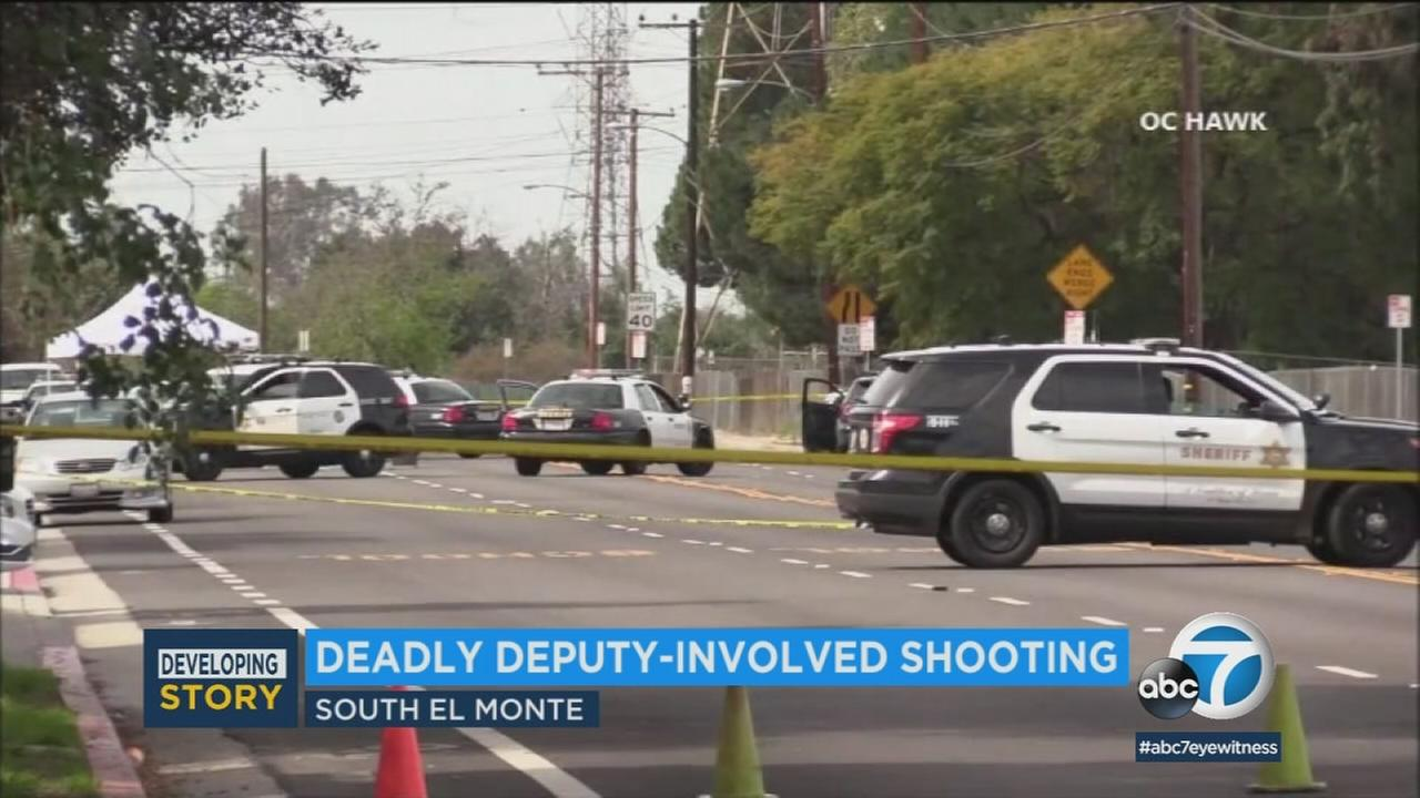 A suspect is dead after being shot by deputies in South El Monte Sunday morning, sheriffs officials said.