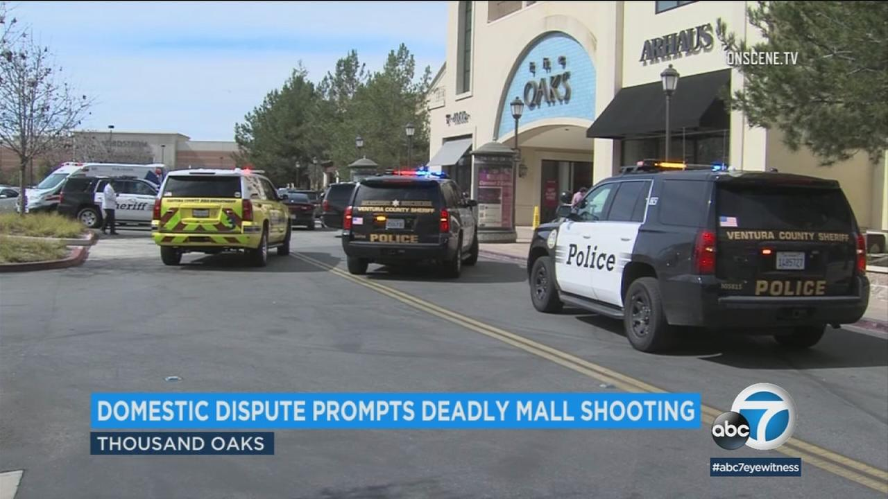 A 29-year-old woman and her ex-husband, both of Thousand Oaks, were identified as the victim and suspect in a shooting at The Oaks Mall.