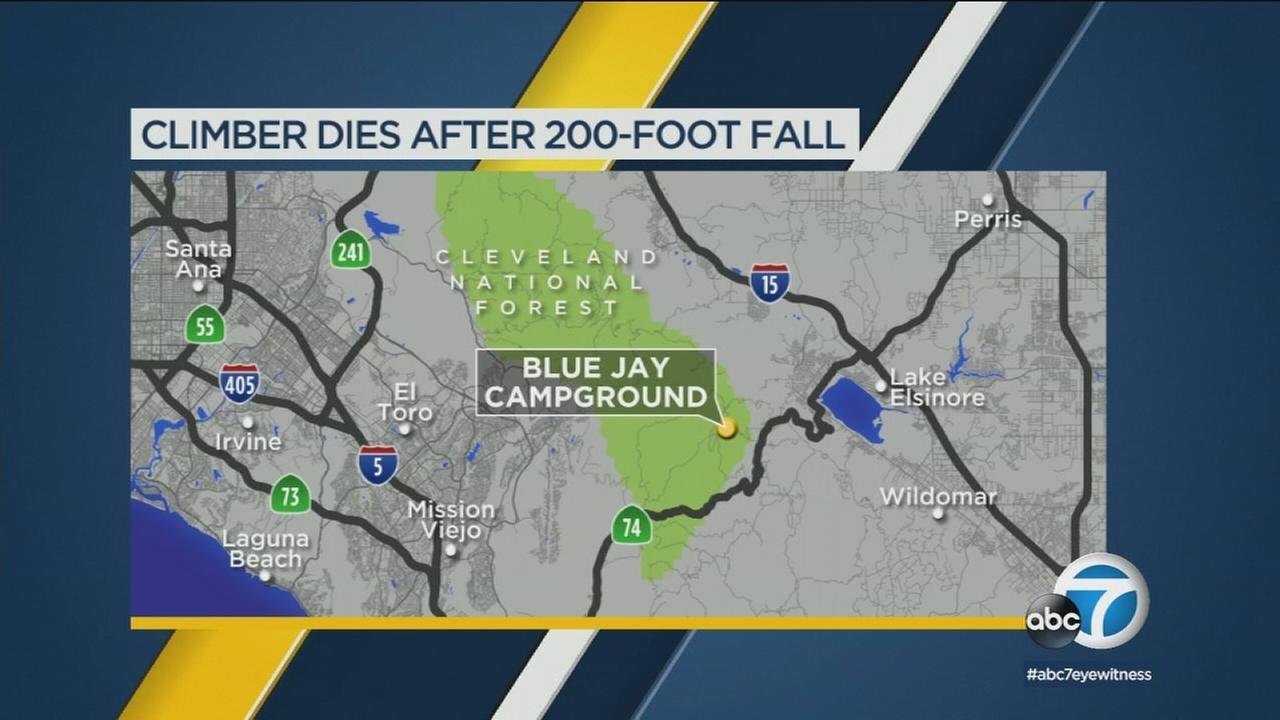 A Montclair woman died Saturday after a 200-foot fall in the Cleveland National Forest.
