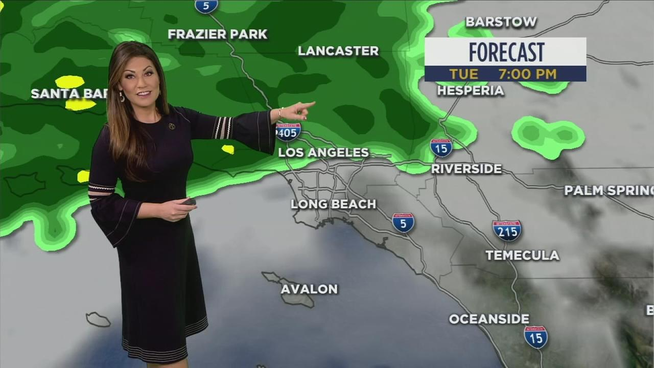 Meteorologist Kimi Evans shows the forecast for Southern California.