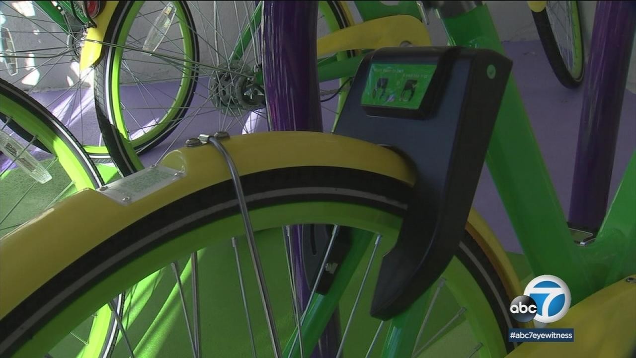 A Lime Bike is shown as it takes part in the new Go Monrovia transportation program.