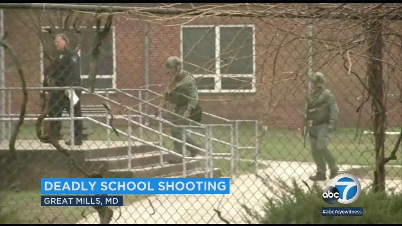 Officers at the scene of a school shooting in Maryland on Tuesday, March 20, 2018.