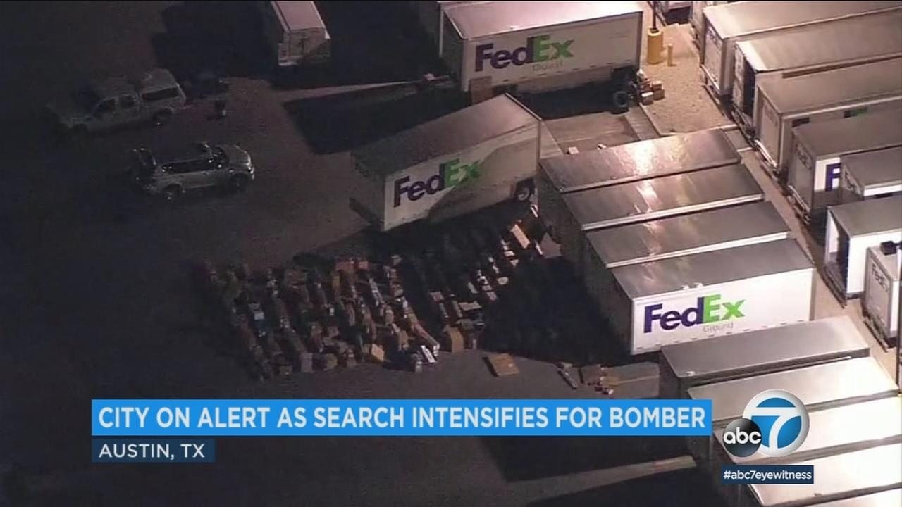A FedEx shipping center near San Antonio where a package exploded on a conveyor belt in the middle of the night.