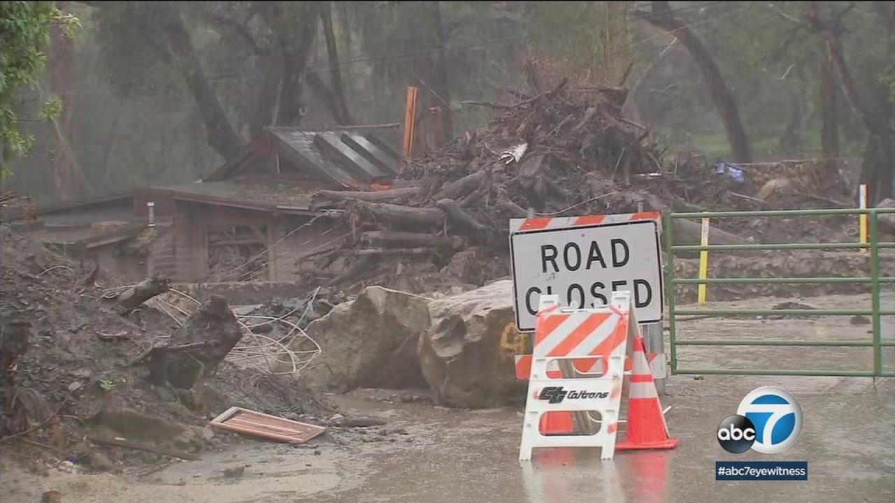 An area ravaged by previous rainstorms and mudslides is shown in Montecito.