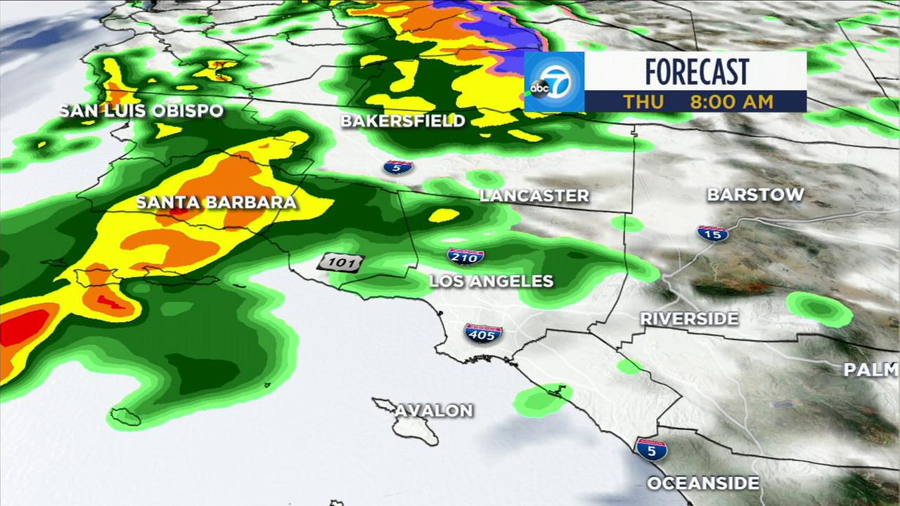 A strong spring storm is expected to still bring bouts of heavy rain Thursday across many parts of the Southland. Highs will be in the 60s for most areas.