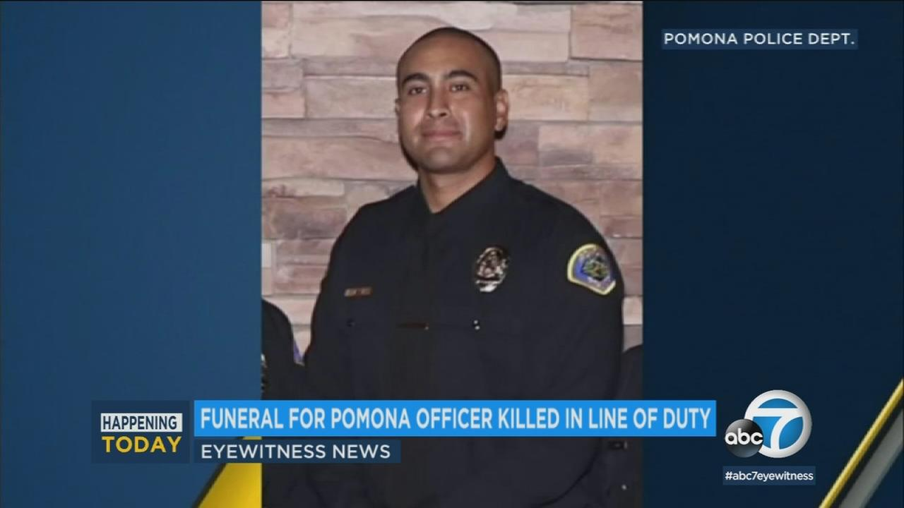 Funeral services are set to be held Thursday morning for a Pomona police officer who was fatally shot during a 15-hour standoff at an apartment building after a vehicle chase.