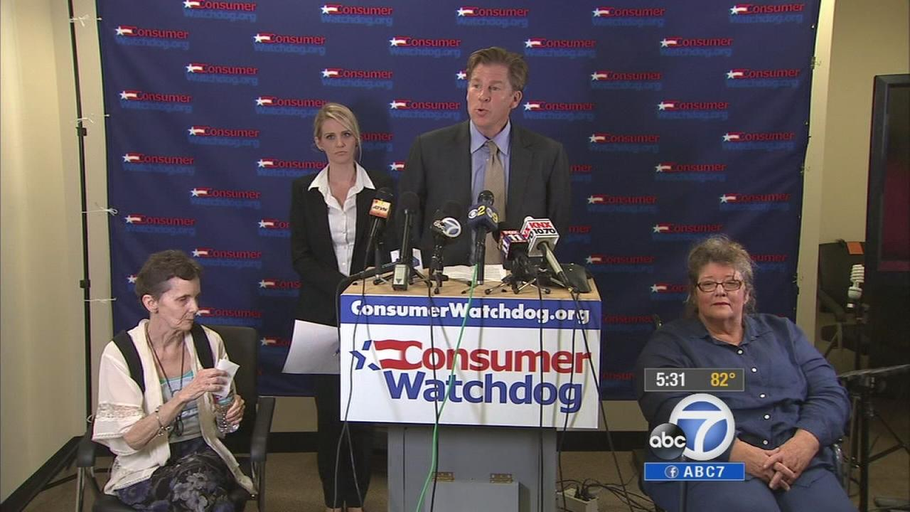 Jerry Flanaga, an attorney for Consumer Watchdog, speaks at a press conference publicizing the organizations lawsuit against Cigna and Blue Shield of California, Sept. 25, 2014.