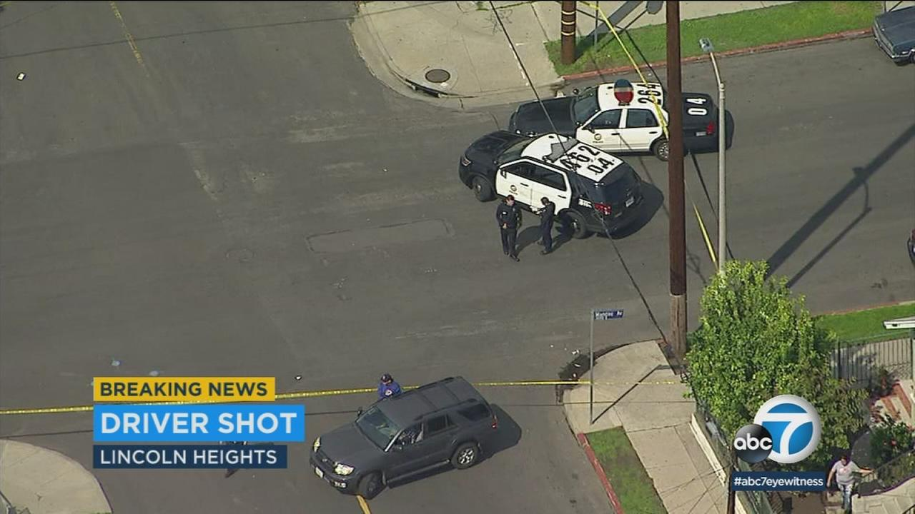 One person is dead after being shot in a car in Lincoln Heights, according to Los Angeles police.