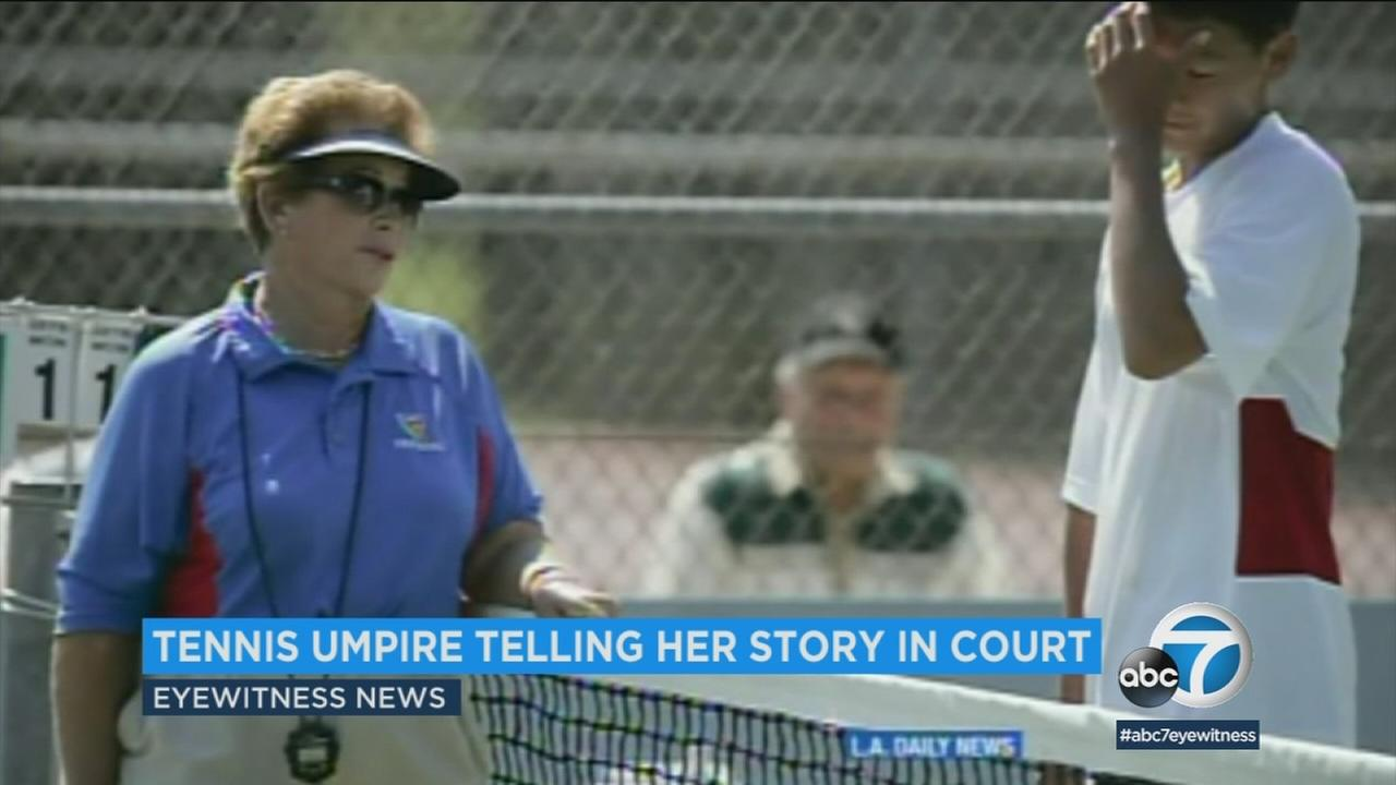 Lois Goodman is shown in old footage during her days as a tennis umpire.