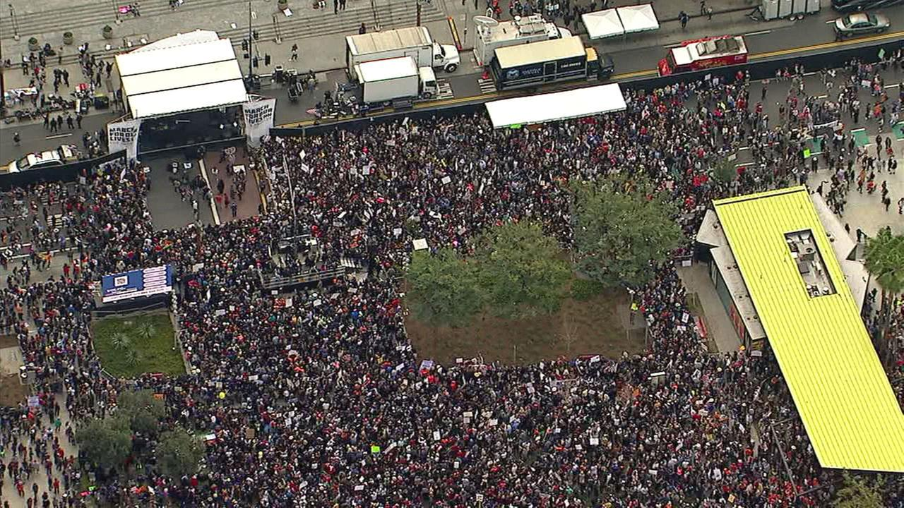Tens of thousands of people at Grand Park following the March for Our Lives LA march on Saturday, March 24, 2018.