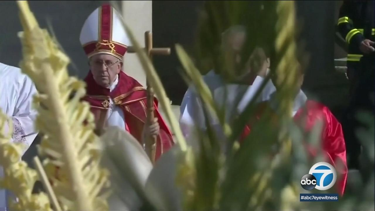 Pope Francis attends mass on Palm Sunday, March 25, 2018.