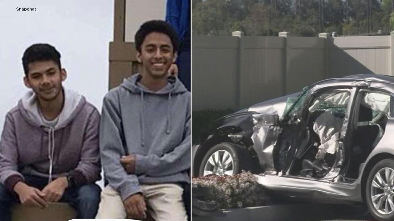 An undated photo shows two Santa Ana teenage students alongside a car crash in Tustin where both were killed on Friday, March 23, 2018.