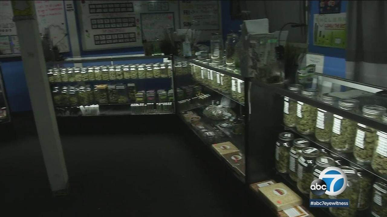 The inside of an illegal marijuana dispensary is shown in a photo.