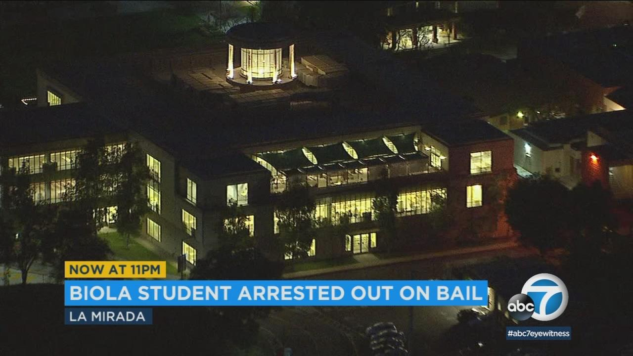 A Biola University student was arrested on suspicion of possessing unregistered firearms in his dorm room, authorities said.