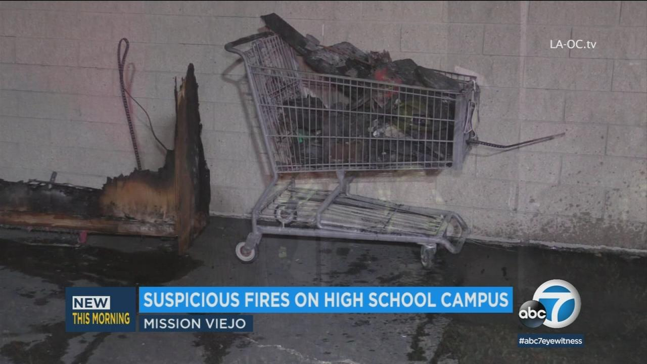 Arson investigators responded to Mission Viejo High School on Wednesday evening after two suspicious fires broke out on the campus.