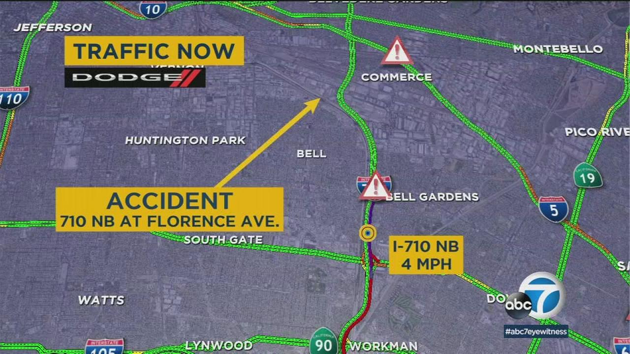 A semi-truck overturned on the 710 Freeway in Bell on Friday as the morning commute was underway.